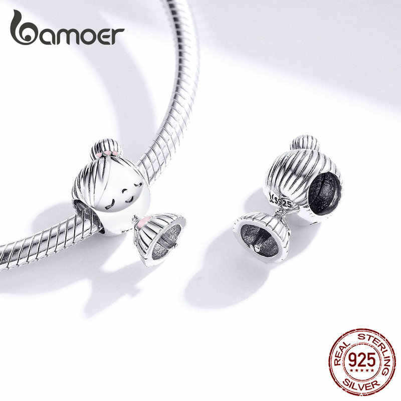 Bamoer Jongen En Meisje Charme Voor Originele Zilveren 925 Armband Echt 925 Sterling Zilver Metalen Kralen Valentijn Cadeaus SCC1334