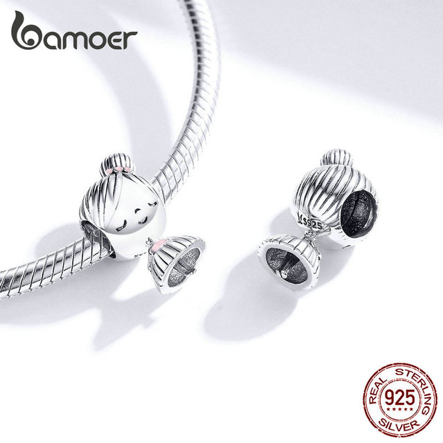 bamoer Boy and Girl Charm for Original Silver 925 Bracelet Genuine 925 Sterling Silver Metal Beads Valentine Gifts SCC1334