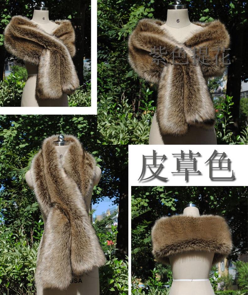 Élégant femmes châle nouveau type renard-comme fourrure châle fourrure-comme cou écharpe mariée en porte-à-faux robe de soirée cape cadeau spécial - 6