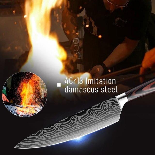 DEKO-cuchillos de Chef profesionales afilados, Juego de cuchillos de cocina, 4CR13, Damasco deshuesado, japonés, 7CR17, 440C, acero inoxidable de alto carbono 3