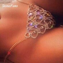 StoneFans Statement Heart Rhinestone Body Jewelry Sexy Linge