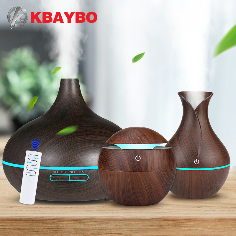 KBAYBO Aromatherapy Air Humidifier Wood Aroma Essential Oil Diffuser Ultrasonic Humidifier Mist Maker LED Night Light For Home