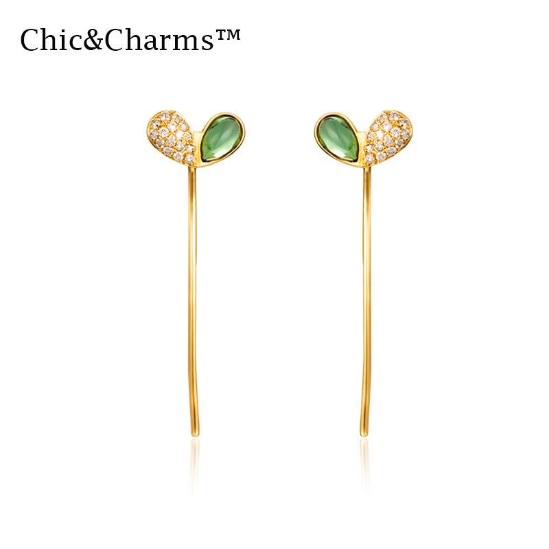 Boucles d'oreilles mode Chic & charmes 9K & 14K en or véritable diamant couleur pierre gemme pour femmes 2019 déclaration corée partysu or Rose