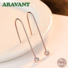 925 Sterling Silver Jewelry Simple Rose Gold Color AAA Cubic Zircon Drop Earrings For Women almei 8ct teardrop citrine bead 925 sterling silver rose gold color vintage neck jewelry decoration for women with box 40