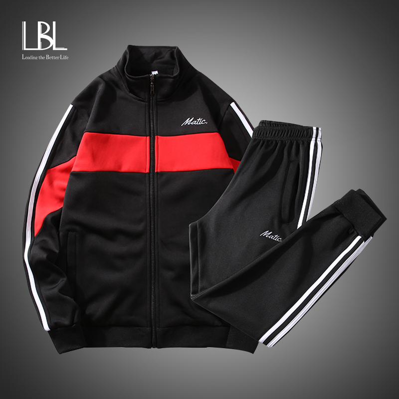 Sweatsuit Men Set Fashion Spring Sporting Suit Hoodies Sweatshirts Jacket+Pants Sportswear 2 Piece Set Tracksuit For Men Clothes