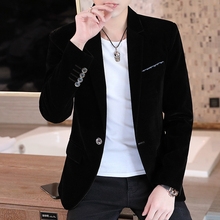 Blazer Men 2020 New Men's Fashion Business Casual Pleuche Fleece Slim Single-button Mens Blazer color block double button mens casual blazer