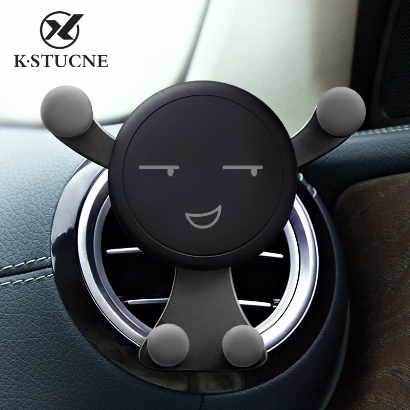 Holder For Phone In Car Mobile Gravity Air Vent Monut Smile Face Stand For Phone No Magnetic Auto Support Stand Car Accessories