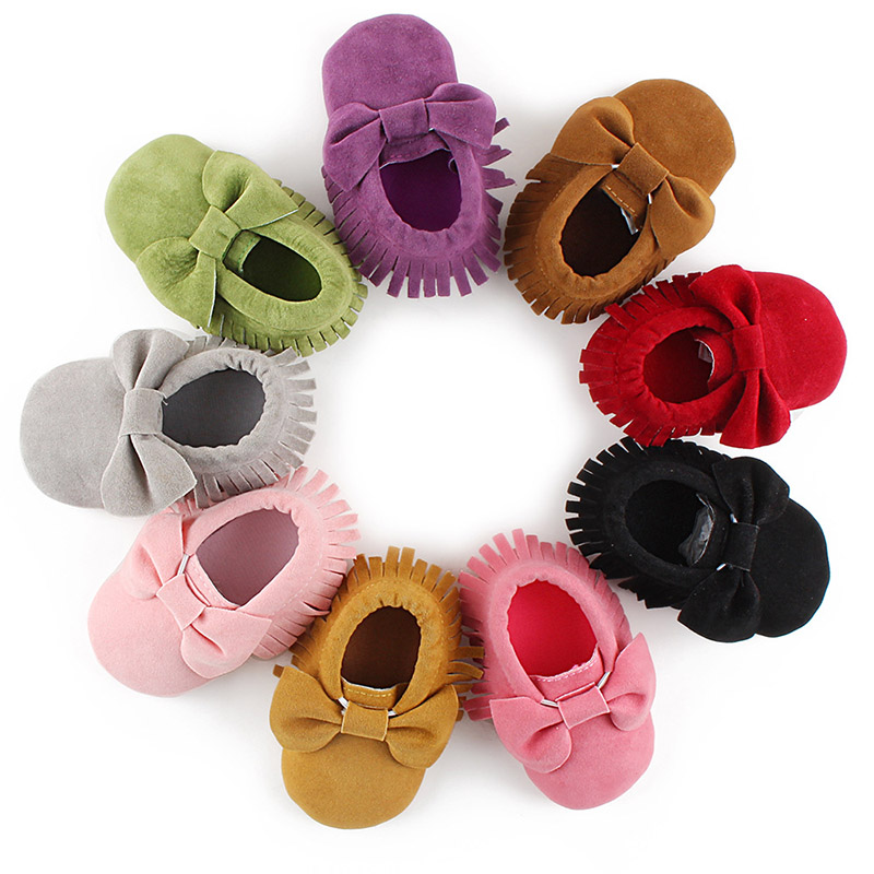 Baby Girls Shoes First Walkers Fringed Bow Knot Pure Color Baby Moccasins Non-slip European Style Toddler Soft Soled Baby Shoe