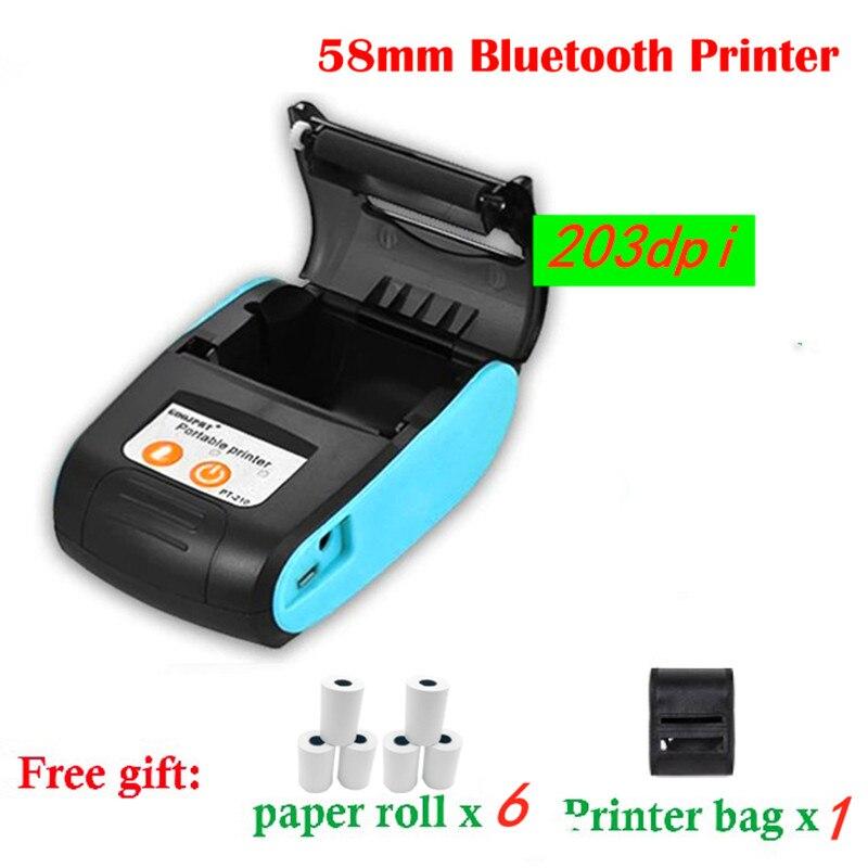 Мини принтер GOOJPRT с Bluetooth, термопринтер, портативная машина для получения билетов для мобильных телефонов Android, iOS, Windows 58 мм