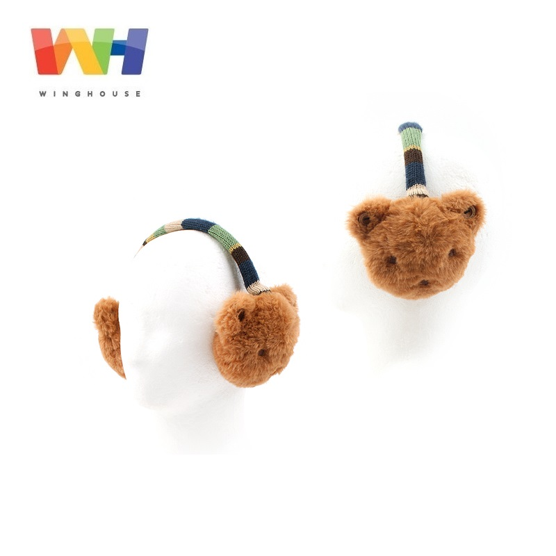 Winghouse Children Earmuffs Boy Girl Cartoon Bear Plush Doll Ear Bags Warm Ear Cover Kids Windproof Earplugs Winter Headphones