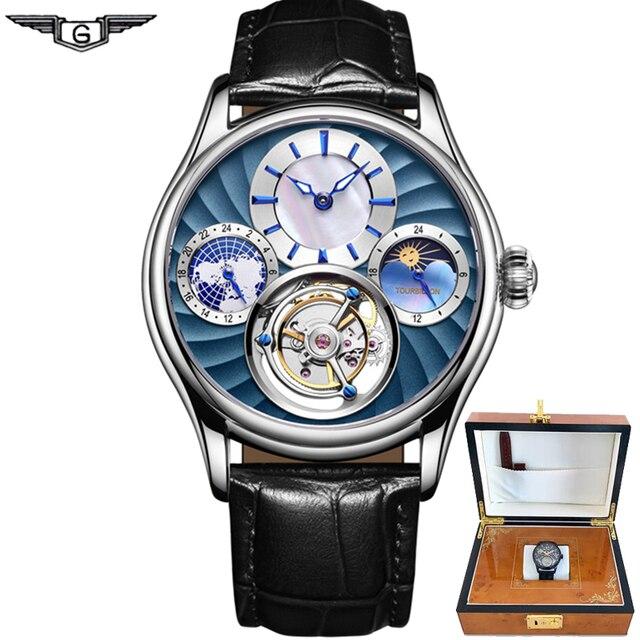 Original Tourbillon montre GUANQIN 2019 nouvelle horloge hommes étanche mécanique saphir haut en cuir marque de luxe Relogio Masculino