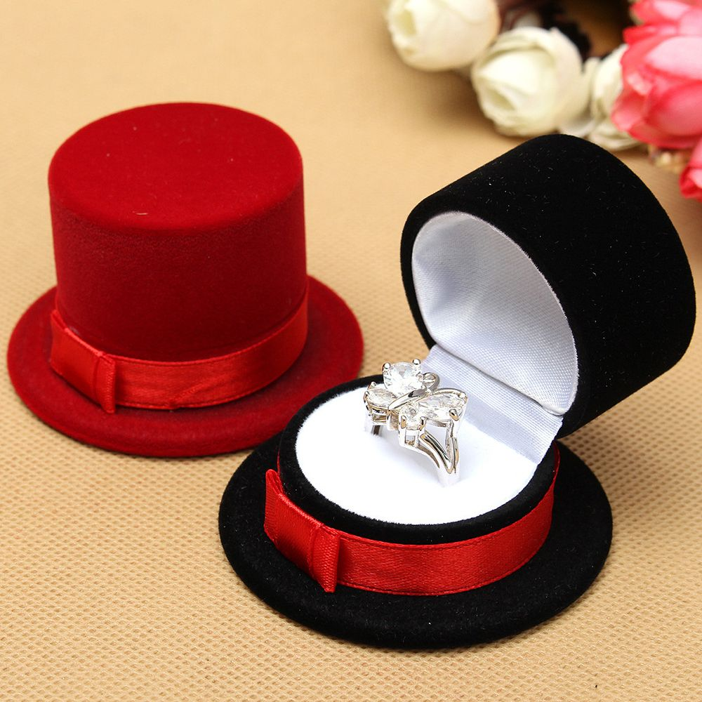 Hot Sale New Cute Straw Hat Velvet Rings Jewelry Box Earring Ear Stud Case Gift Container Carrying Cases For Rings Display Box