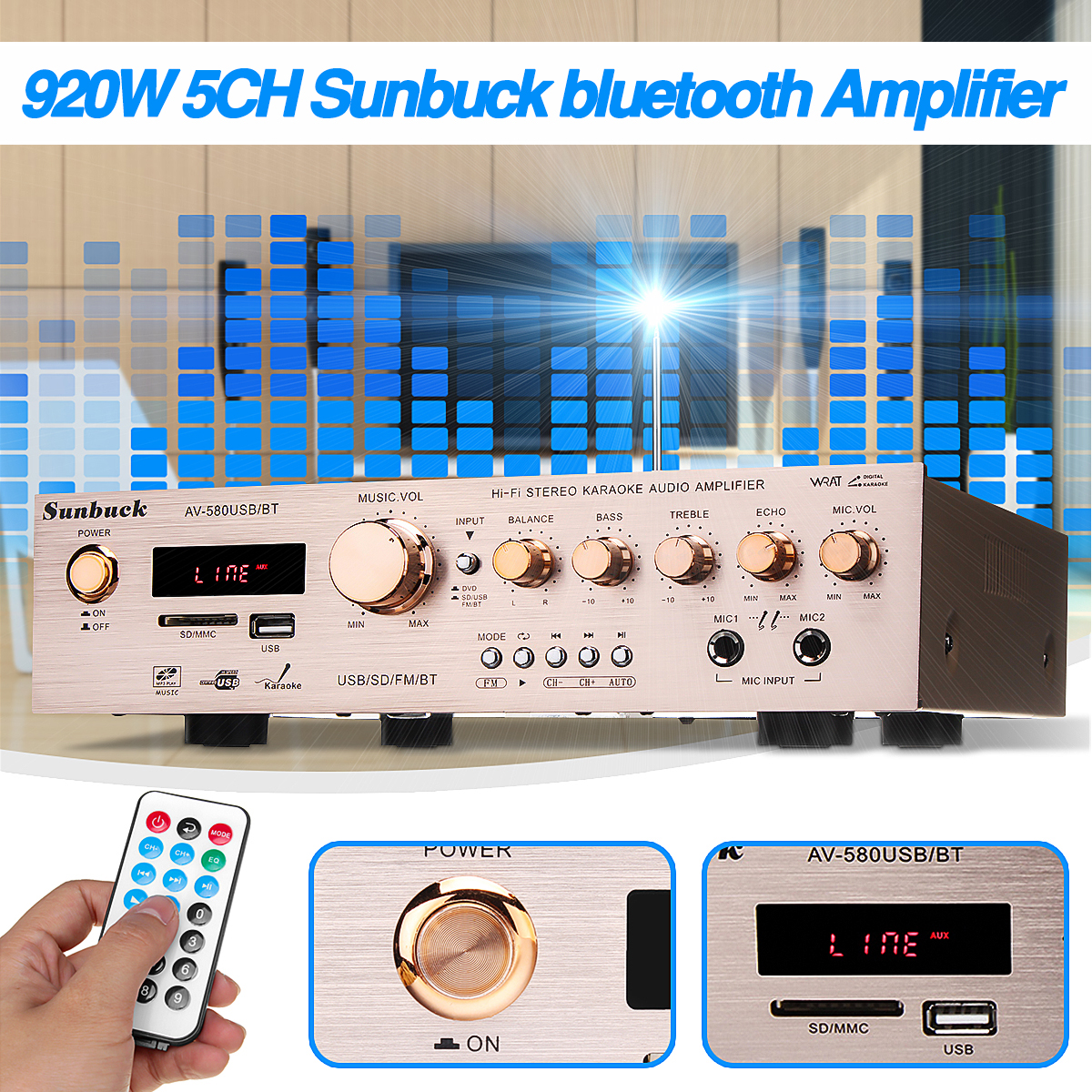 920W 220V 5CH bluetooth <font><b>HiFi</b></font> Stereo AV Surround <font><b>Amplifier</b></font> FM Karaoke Cinema Home Home Theater <font><b>Amplifiers</b></font> image