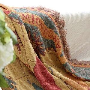 Image 3 - Карта мира богемный синель Плед Одеяло Диван Декоративные броски на диван/кровать большой кобертор одеяло кисточкой вязаное одеяло