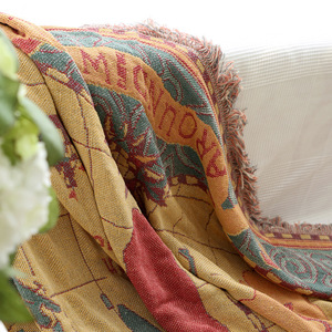 Image 3 - World map Bohemian Chenille Plaids Blanket Sofa Decorative Throws on Sofa/Bed large Cobertor Blanket Tassel Knitted blanket