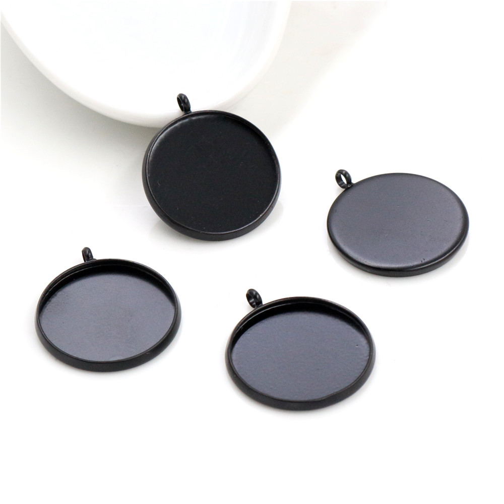 5pcs 20mm Inner Size Black Classic Style Brass Cabochon Base Setting Charms Pendant (D1-04)