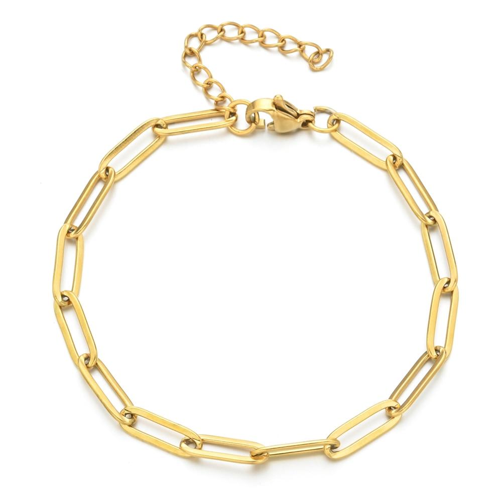ZMZY браслеты-цепочки из нержавеющей стали в стиле бохо для мужчин и женщин, ювелирные изделия золотого цвета, овальная Регулируемая цепочка ...
