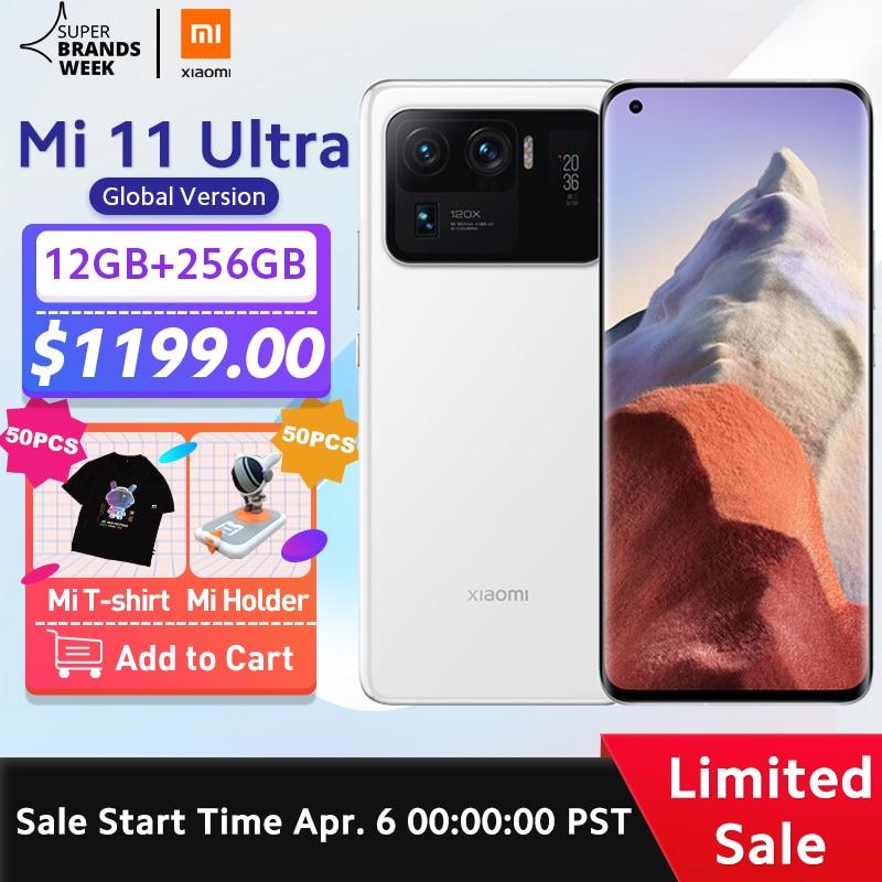 הגלובלי גרסת Xiaomi Mi 11 Ultra Smartphone 12GB RAM 256GB ROM Snapdragon 888 אוקטה Core 50MP 120X זום מצלמה 5000mAh סוללה