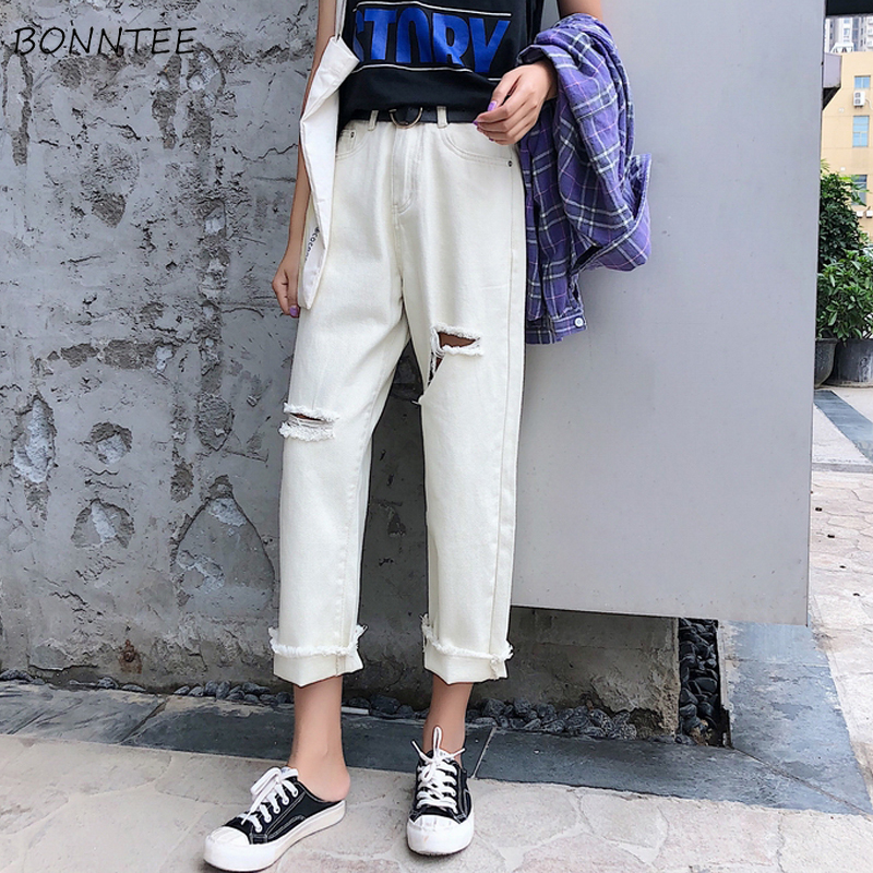 Jeans Women Chic Loose Simple Hole Korean Style Summer Casual Daily Harajuku All-match High Quality Trendy Student Pockets New