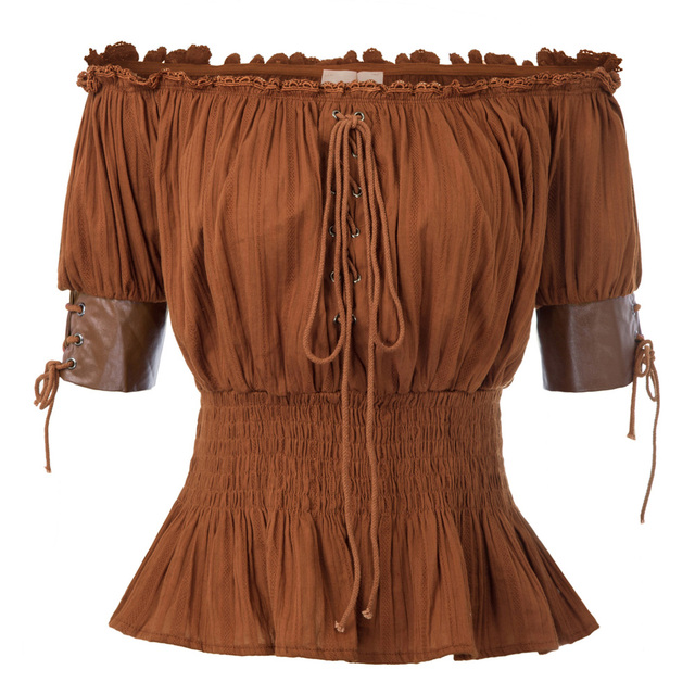Belle Poque Summer Shirts Sexy Women Vintage Retro Steampunk Victorian Half Sleeve Off Shoulder Tops Solid Color New Gothic Lady 5
