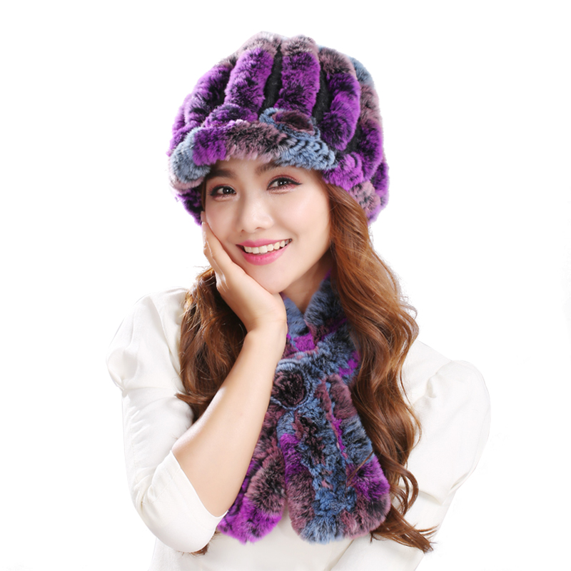 Autumn And Winter Hat Scarf Suit Female Thick Warm Adult Ear Rabbit Fur Knitted Rabbit Fur Scarf And Hat One Set