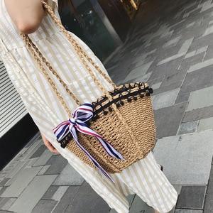 Image 1 - New straw wrapped scarf decoration black beads Hawaiian style single shoulder slanting lady bag