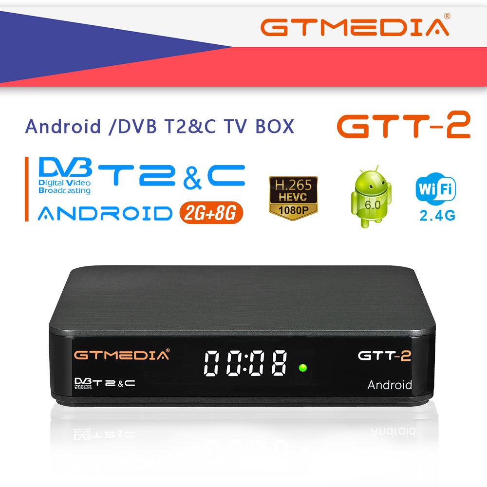 GTMEDIA GTT2 <font><b>Android</b></font> 6.0 <font><b>TV</b></font> <font><b>Box</b></font> 2GB RAM 8GB ROM 2.4G WiFi set top <font><b>box</b></font> 100Mbps 4K smart <font><b>box</b></font> USB2.0 <font><b>DVB</b></font> <font><b>T2</b></font>-C IPTV Set Top <font><b>Box</b></font> image