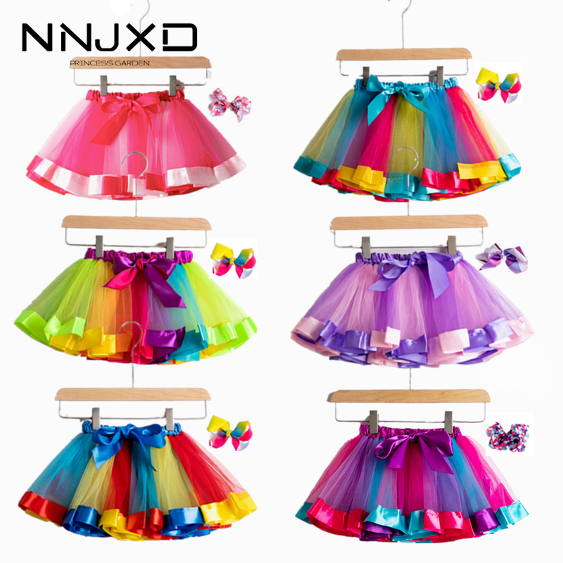 Tulle Skirts Dance-Rainbow Party Girls Mini Children Colorful New 12m-8yrs