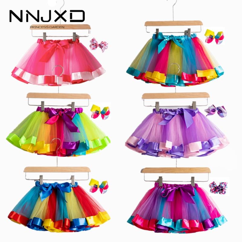 Saia tutu de arco-íris para meninas, roupas coloridas para bebês de 12 meses a 8 anos, saia tule para festa, 2020