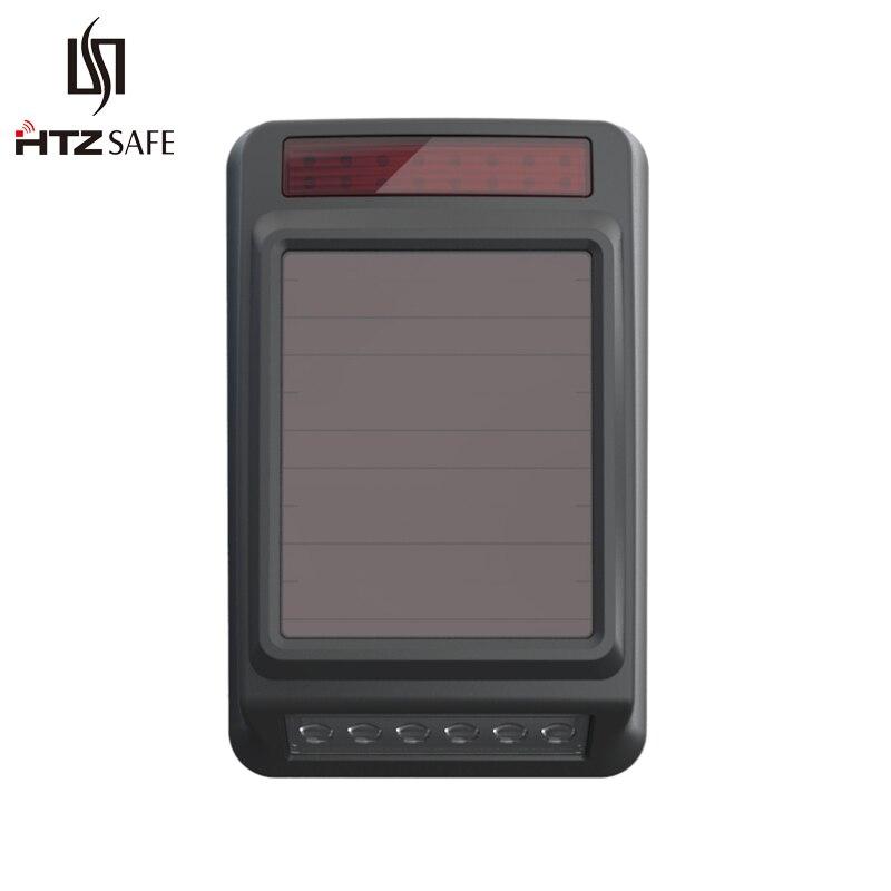 HTZSAFE Solar Wireless Siren & Strobe Light - Outdoor Waterproof - 2 Optional Tones - Expandable Up To 32 Sensors