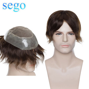 Sego 8x10 Lace & PU Men Toupee Remy Hair Replacement Systems Indian Human Hair Hairpiece wig Density 120% bymc two colors natural hairlines men s toupee hair indian human hair long lasting adhesive hairpiece lace