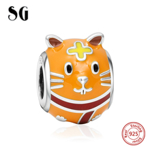 SG Silver 925 Original charms lovely diy colorful enamel hamster beads fit authentic pandora bracelet jewelry making women gift