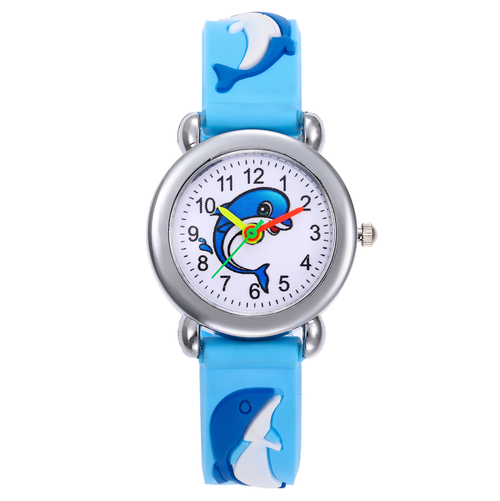 Baby Toys Gifts Children Watch Cartoon Dolphin Clock Kids Girls Watches Electronic Toddler Boy Girl 3-8 Years Old Child Watch