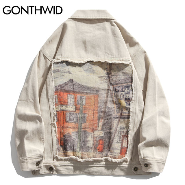 GONTHWID House Print Patchwork Denim Jackets Streetwear Mens Hip Hop Harajuku Casual Jeans Jacket Coats Harajuku Fashion Tops 3