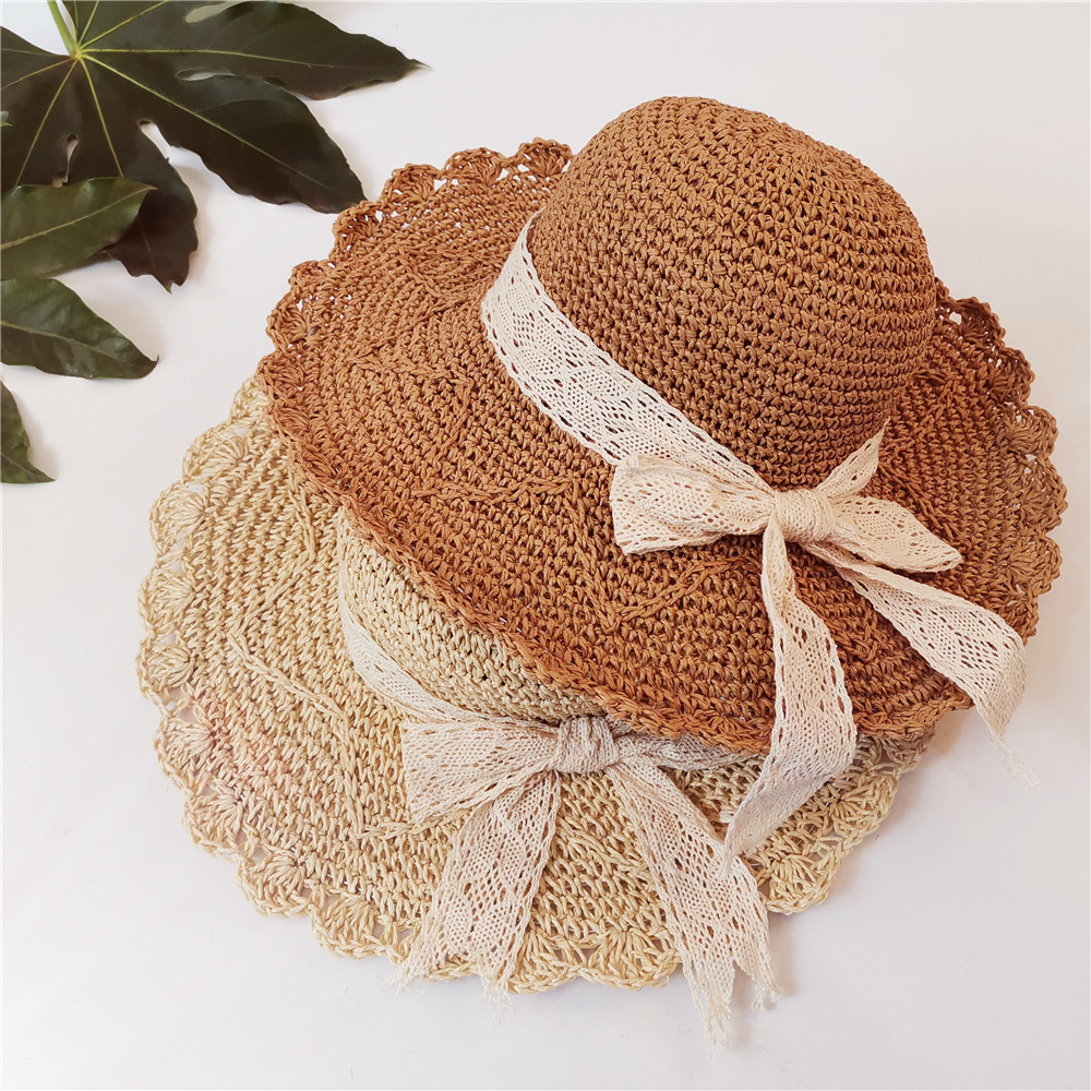 2019 Korean Beach Hat Women Outdoor Travel Straw Hat Large Brim Folding Bow Sun Hat