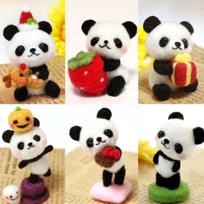 Funny Handmade Diy Toys Cartoon Small Animals Strawberry Panda Wool Felt Set Plush Toy Craft Toy Gift For Children