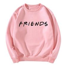 Autumn Korean Style Clothing Friends Letter Print O-Neck Women Sweatshirt Plain Sweet Pink Long Sleeve Casual Pullover Fashion