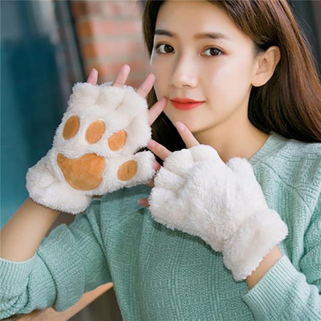 Women Bear Plush Cat Paw Claw Gloves Winter Faux Fur Cute Kitten Fingerless Mittens Gloves Christmas Halloween for Womens Girls 2