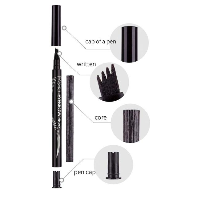 LULAA Women Makeup Sketch Liquid 4-Claw Eyebrow Pencil Waterproof Brown Eye Brow Tattoo Dye Tint Pen Liner Long Lasting Eyebrow 4