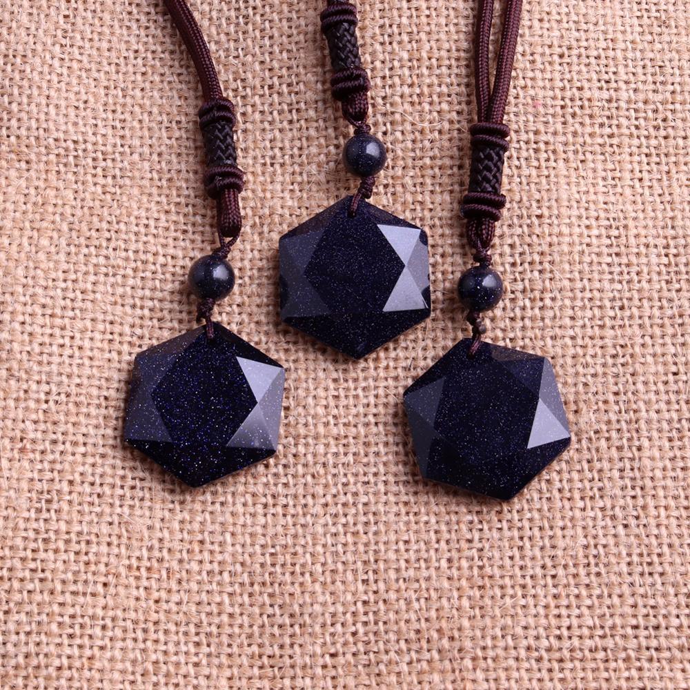 wholesale lots bulk 3pcs Reiki Hexagram Meditation Blue Sandstone Natural Stone Beads Women Necklace Women jewelry collar free