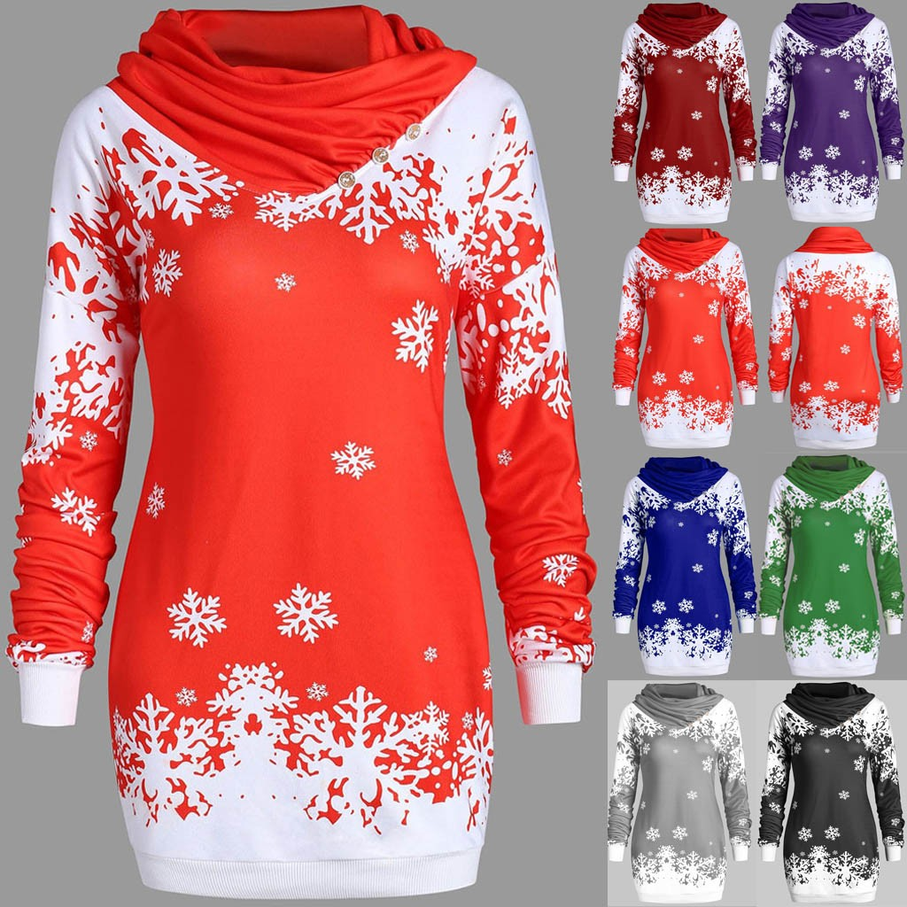 Fashion Women Hoodies Merry Christmas Snowflake Printed Tops Cowl Neck Sweatshirt Low Price Promotions Slim Hoodies