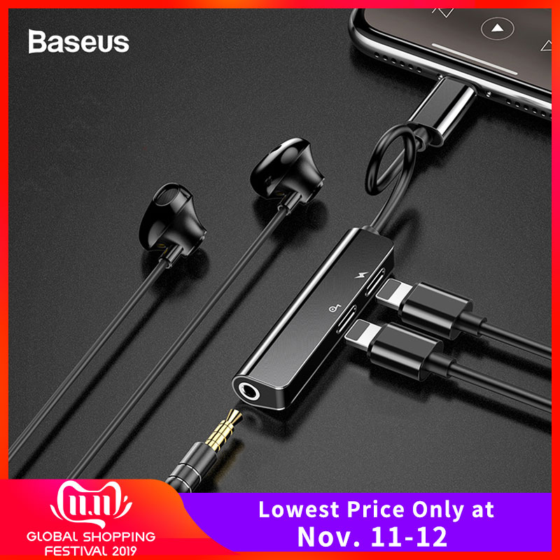 Baseus Audio Aux Adapter For IPhone 11 Xs Max Xr X 8Plus Dual Earphone Headphone Jack OTG Cable For Lightning Splitter Converter