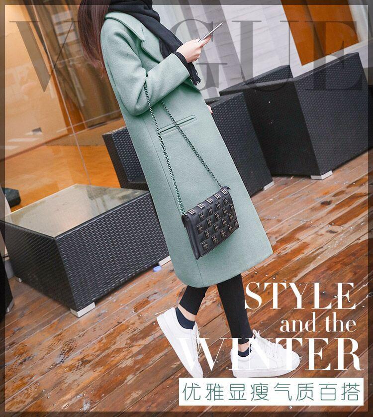 Fashion Single Breasted Slim Women Winter Wool Coat