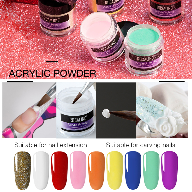 ROSALIND Acrylic Nail Kit Poly Gel Nails Kit Of Extension Nail Art Carving Decoration For Manicure Gel Nail Polish Set