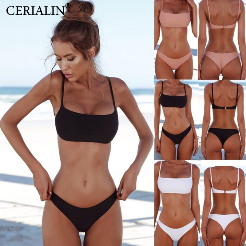 New Solid Sexy Bikini Set Women Swimming Suit Fashion Swimsuit Two-Piece Swimwear Bathing Suit Female Biquini Plus Size XL Sets(China)