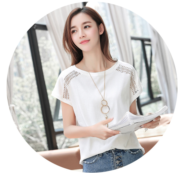 Hd6ff9207653242af920aa2ff7398895fS - Cotton Summer Blouses Lace Batwing Sleeve Shirts For Womens Tops Shirts Plus Size Women Clothing Korean Pink Blusas Female