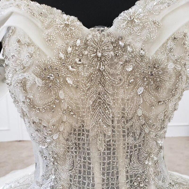 Image 5 - HTL1208 свадебное платье принцессы с открытыми плечами, коротким рукавом, аппликацией и кристаллами, на шнуровке сзади, белое свадебное платье, новинка, robe de marieeСвадебные платья    АлиЭкспресс