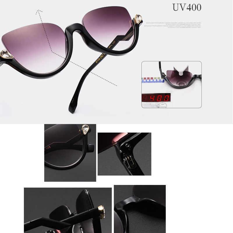 Óculos quadros óculos de sol feminino 2018 olho de gato meio quadro strass moda óculos de cristal moldura anti-azul lente óculos de sol