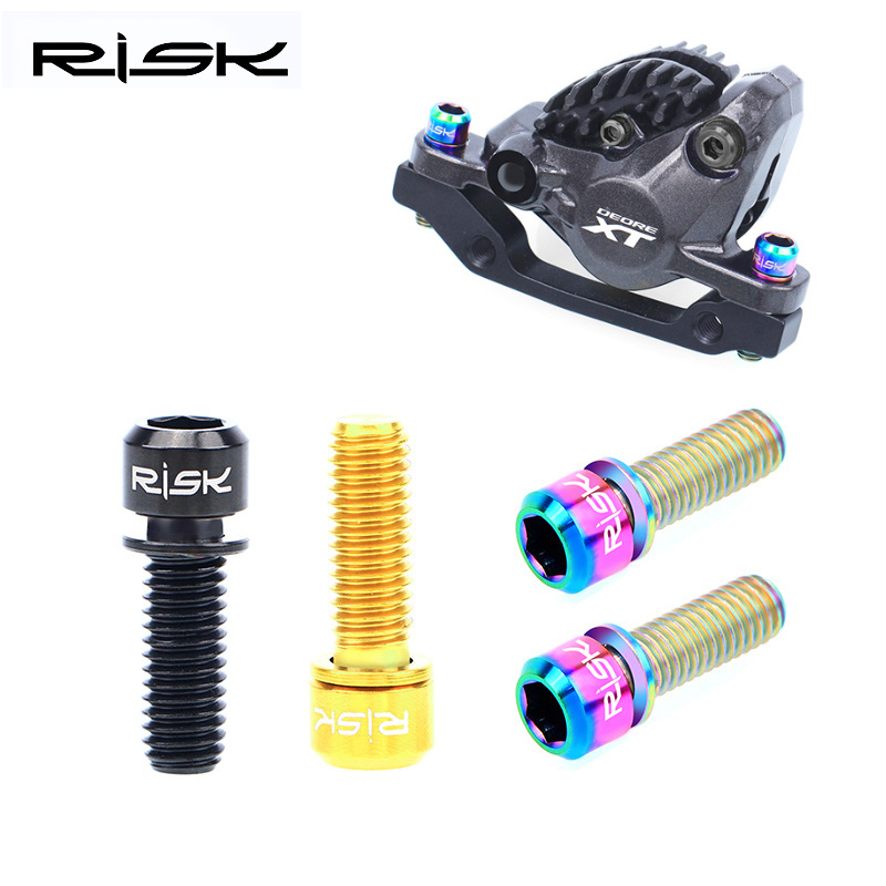 RISK 4pcs M6x18mm <font><b>M6x20mm</b></font> <font><b>Titanium</b></font> Alloy Mountain Bike Disc Brake Fixing Bolts Screws With Washer for MTB Bicycle image