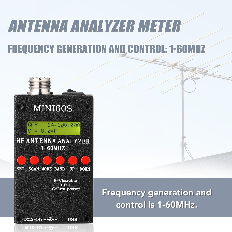 Анализатор антенны, DC 12-14 в, 500 мА, MINI 60s, 1-60 МГц